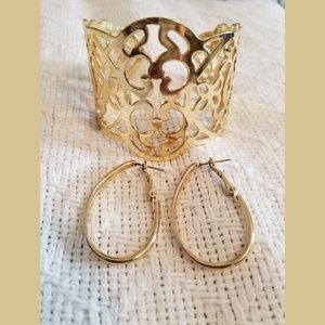 Jewelry - Gold-tone Cuff & Earring Set